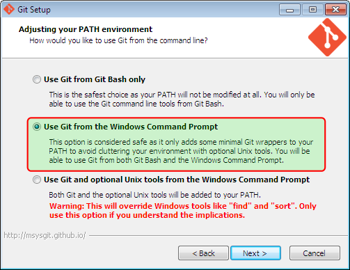 Screenshot showing selection of git install option