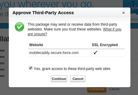 Salesforce MobileCaddy Third-Party Access screenshot