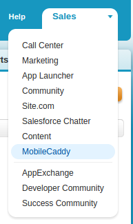 Choosing the MobileCaddy item from the Salesforce menu