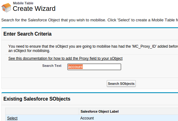 Screenshot of MobileCaddy mobilise Salesforce Table wizard
