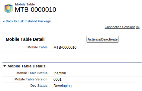 Screenshot of Activating a Salesforce mobile table with the MobilCaddy wizard