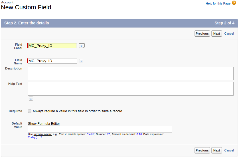 Screenshot of Adding the MC_Proxy_ID field for MobileCaddy