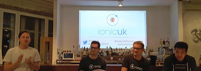 Ionic UK origaniser Ryan, and some of the Ionic core team.